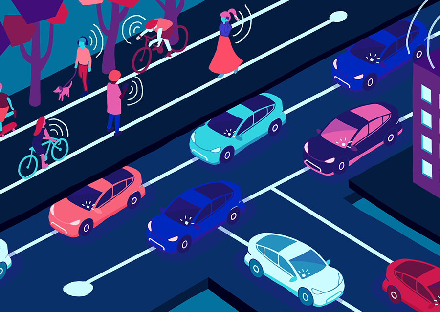 Illustration of busy city intersection with connected devices transmitting signals.