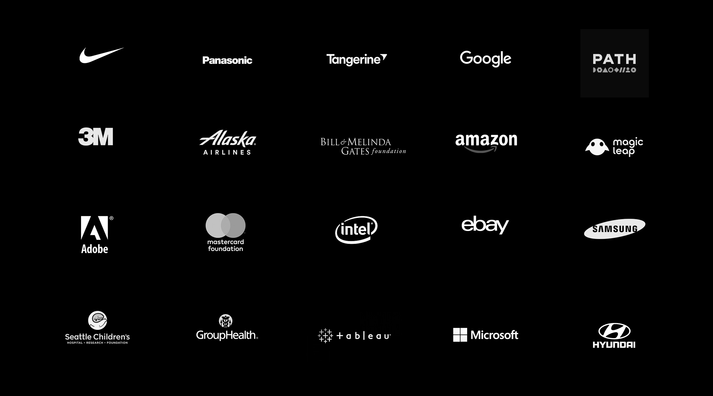 Artefact's partners include Nike, Tangerine, Google, Amazon, Magic Leap, Adobe, Samsung, Group Health, Tableau, Microsoft, Hyundai, and more.